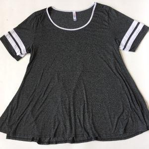 LulaRoe 2XL Perfect T Shirt Baseball Gray White